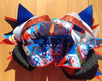 "Harley Quinn OTT stacked boutique hairbow 5.5"" X 4"", handmade bow. OOAK ready to ship"