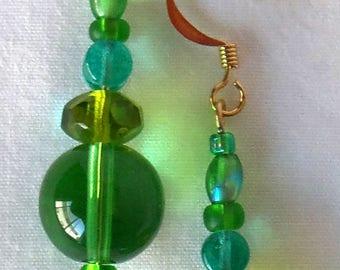 Green Drop Earrings, Green Bead Earrings, Green Round Earrings, Lime Green Earrings, Teal Green Drop Earrings, Lime Drop Earrings