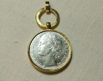 Italian lira coin silver 925 pendant gold-plated 24k