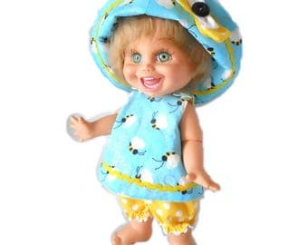 Bumblebee Three Piece Ensemble 13 Inch Doll Clothing Galoob Baby Face Crossover Top Bucket Hat Bloomers