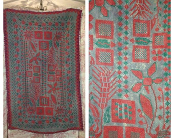 Antique FRENCH 1890-1900 hand worked needle point cross stitch decorative textile rug/ hanging