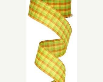 """SALE 1.5"""" x 10yd mini check ribbon, lime/orange/yellow, orange plaid ribbon, checked ribbon, orage wired ribbon, lime green wired ribbon, ye"""