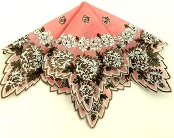 Pink Handkerchief Copper Chrysanthemums Scalloped Edge