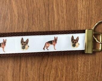 German Shepherd Key Chain  Zipper Pull Wristlet