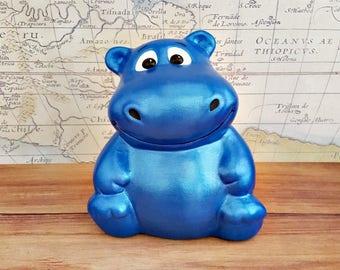 Metallic Blue Hippo Piggy Bank, Hippopotamus Piggy Bank, Blue Piggy Bank, Piggy Bank, Bank, Baby Bank, Baby Shower Gift, Kids Piggy Bank