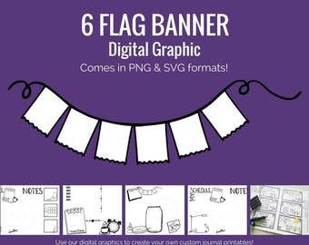 Digital Graphics - 6 Flag Banner (png and svg) Bullet Journal Digital Stickers