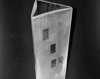 Lindshammar, Gunnar Ander- Sweden Three-sided rare art glass vase a frosted side and two in clear glass fro