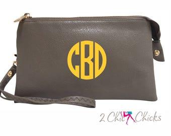 Monogram Crossbody Purse, monogram clutch, monogram purse, bridesmaids gift, monogram wristlet, personalized purse wallet crossbody bag