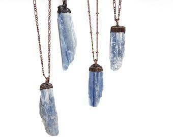 Blue Kyanite-Kyanite Necklace-Electroformed Necklace-Copper Plated-Copper Necklace-Blue Necklace-Gemstone Necklace-Kyanite Stone Necklace