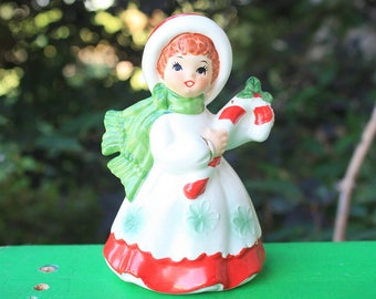 Vintage Lefton Christmas Snowflake Shopper Girl Lady Holding Candy Cane Figurine 7698 Ceramic Japan 1950s Decorations Collectibles