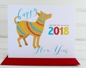 Year of the Dog Card, Chinese New Year Card, Lunar New Year, 2018 New Year, Chinese Zodiac, Chinese Lunar Card, Dog Card, New Year 2018 Card