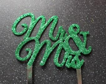 Mr and Mrs Cake Topper GREEN GLITTER