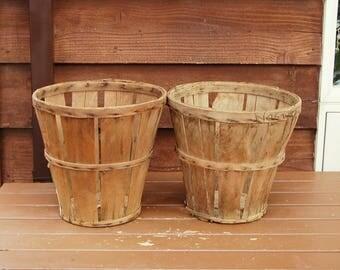 Pair Split Wood Fruit Baskets, Vintage Harvest Baskets, Split Wood Market Baskets, Flower Baskets, Orchard Baskets, Storage Basket