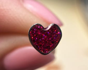 Mini Heart Glitter Earrings