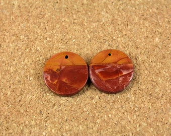 Red Creek Jasper Round Matched Pair - Yellow Red and Orange Smooth Circle Front Drilled Matched Pair