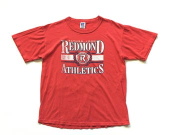 Father john redmond athletics russell athletic t shirt single stitch red M medium made in USA