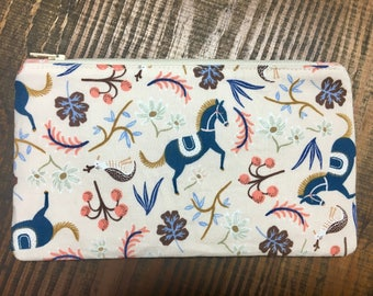 Floral Horse Zip Pouch - Makeup Bag