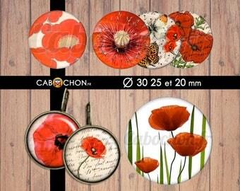 Joli Coquelicot • 45 Images Digitales RONDES 30 25 et 20 mm fleur fleurs romantique rouge coquelicot japon pivoine