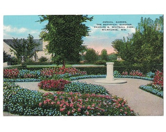 Milwaukee Wisconsin Vintage Linen Postcard   Charles B Whitnall Park,  Boerner Botanical Gardens   1930s