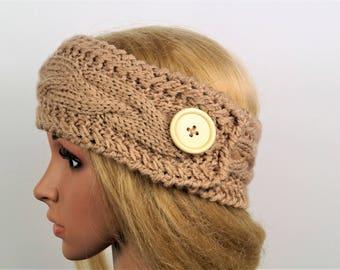 Brown Ear Warmer, Knitting Winter Headband ,Knit and Crochet Headband, Ear Warmer,Brown Headband,Crochet Headband,Knit Turban Headband