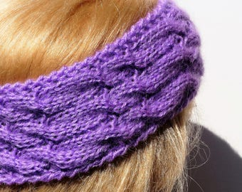 Purple Ear Warmer,Knitted Winter Headband ,Knit and Crochet Headband, Ear Warmer,Brown Headband,Crochet Headband,Knit Turban Headband