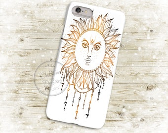 Boho Watercolor Sun, 3D Phone Case, Iphone 6 7 7+ Samsung Galaxy S5 Thin Hard Case, Dream Catcher, Personalized Mobile Full Wrap