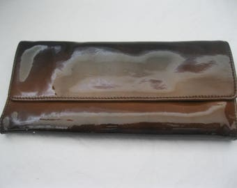 Black and Brown Patent Leather Hobo International Tri-Fold Wallet