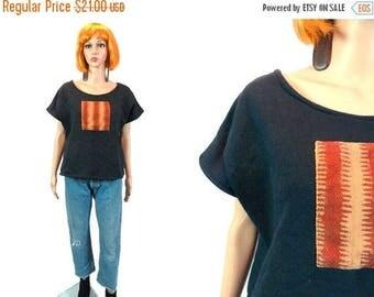 tempSALE Vintage Oversize Sweatshirt/ 80's 90's Short Sleeve Sweats /Ethnic Cut Off Sleeve /Tribal Crop Top Large, XL/ Plus Size/ Black Shir