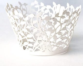 50 White Laser Cut Cupcake Wrappers  Wedding Lace Decor