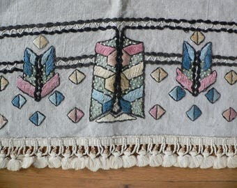 Antique 1920s Arts and Craft Emrroidered Runner  51 Inches X 20.5 Inches