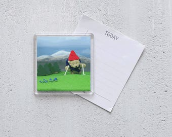 Acrylic Magnet - photo - Busy Ted goes hiking!
