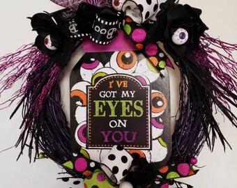 Halloween Wreath, Eyeball Wreath, Halloween Grapevine Wreath, Halloween Eyeball Wreath, Door Decor, Halloween Decor, Eyeball Decor