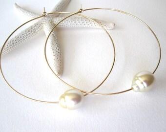 South Sea Pearl Hoop Earrings,  Large 14k Gold Hoops, Sterling Silver Hoops, Tahitian Pearl Hoops Earrings, Pearl Hoops, Pearl Jewelry