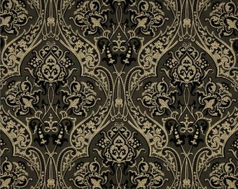 Andover Fabrics - Downton Abbey Collection - Quilting Cotton - Dowager Countess Large Medallions Black Gray Tan Cream