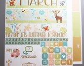 March Full Monthly Planner Kit - for use with Erin Condren - Spring monthly kit - Happy Planner Stickers