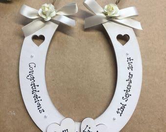 Personalised lucky wedding horseshoe gift hanging decoration