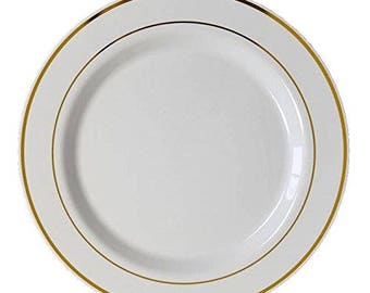 Premium Elegant Heavy Duty Round Plastic Plates with Gold or Silver Trim for Weddings, Parties, and Special Events