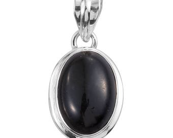 Black Obsidian Oval Cabochon 925 Sterling Silver Pendant without Chain TGW 8.25 cts.