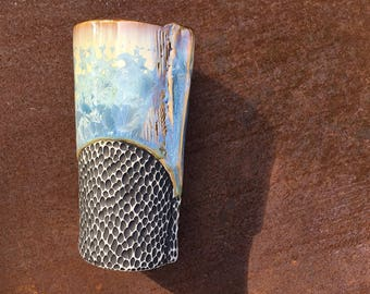 Tumbler, Cup in Blue Crystalline Glaze, One of a Kind Ceramic Drinking Glass or Beer Glass. Holds 15 oz.  6 in Tall, Food Safe