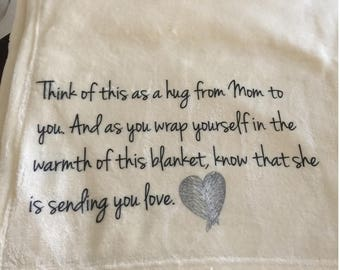 Custom Personalized Throw Blanket for Mom - think of this as a hug from Mom to you.