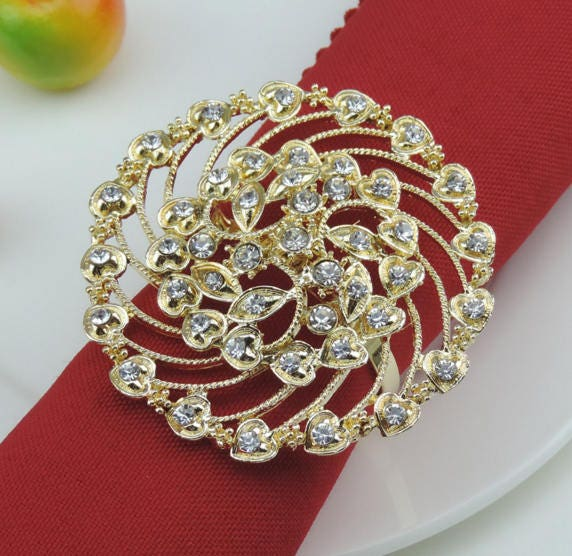 50 pcs Gold Flower Napkin Rings Rhinestone Wedding Napkin Rings