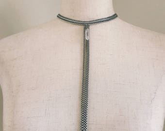 Natural crystal and chain choker t-necklace, rocker chic, handmade jewelry