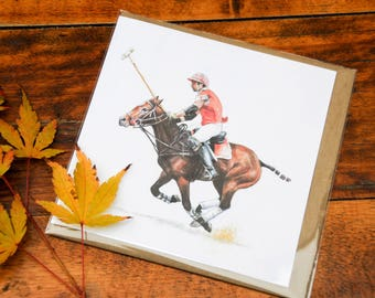 Greetings card of polo player and pony 'At the gallop'