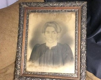 """Sale Through August 21st Large Antique Gesso Wooden Framed Photograph Woman 22"""" x 26"""" Ornate Gothic Black Wooden Frame Vintage 3 Piece Woode"""