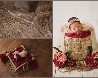 Rustic Woven Jute Burlap Rope Layer . Newborn texture prop. Natural props. Baby photo prop. Jute Net Layer