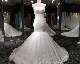 Strapless Tulle Pleated Fit and Flare with 3D Flowers