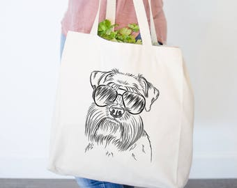 Wrigley the Schnauzer Dog Canvas Tote Bag - Dog Lover Art, Hipster Dog, MIni Schnauzer Love, Schnauzer Owner, Schnauzer Dog Bag
