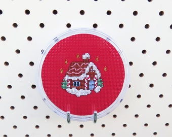 Christmas Gingerbread House Cross Stitch Coaster