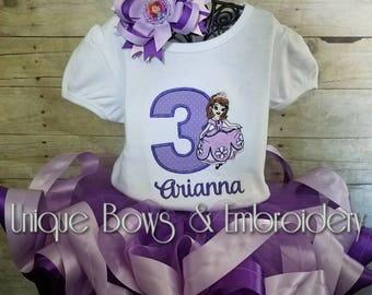 Sophia the First Inspired Birthday Tutu Set  ~ Personalized Birthday Outfit ~ Personalized Birthday Tutu Set