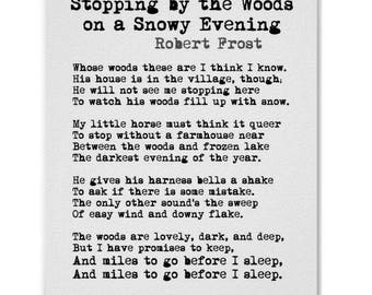 Stopping by the Woods on a Snowy Evening Robert Frost Poem Print